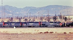 Southern Pacific SD45T-2 and SD45 locomotives at Colton California in 1977 (Tangled Bank) Tags: old classic heritage vintage train railroad railway trains railroads railways 1970s 70s north american southern pacific sd45t2 sd45 locomotives colton california 1977 sp