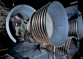... display of F-1 engines- Saturn V: first stage