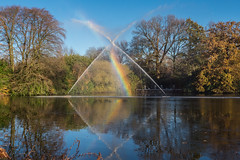 Rainbow over the Moat (Maria-H) Tags: greatermanchester england unitedkingdom gb reflection fountain rainbow dunhammassey cheshire uk olympus omdem1markii panasonic 1235