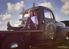 Country Rose (Peeblespair) Tags: peeblespairphotography country countrygirl boots fordtruck ford vintage craneorchards westmichigan vintagetruck bigskies rustic rural countrydreaming fordflatbed