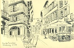 Rue des Tonneliers - Strasbourg (lolo wagner) Tags: usk urbansketchers croquis sketch strasbourg alsace