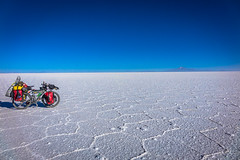 Pablo, Amanda's trusty bike striking a post on the salt flats.