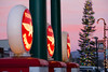 Truckee's Flying A (tuffpeach) Tags: beyondbokeh truckee gaspumps bokeh lights christmaslights christmas red vintage ambient light ambientlight blur fuel california sunset flyinga