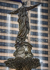 The Genius of Water (Leaning Ladder Photography) Tags: cincinnati ohio fountain fountainsquare tylerdavidsonfountain statue architecture windows leaningladder canon 7d