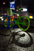 Unpainted shadow of a painted bike (tom.leuzi) Tags: 50mm bike bokeh canoneos6d dof fahrrad lichter nacht night sigma50mmf14dghsmart schatten schweiz sigmaart switzerland velo bicycle bus f14 green lights outoffocus shadow street flickrfriday gogreen
