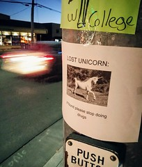 Sound Advice (RZ68) Tags: unicorn stop taking doing drugs if found please sign poster warning paper posted post pole crosswalk sidewalk street car phone shot camera lg g6 night blue hour