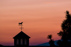 Smoky Silhouette (Thomas Franta) Tags: 70d windvane goldenhour haze barn smoke landscape nature eos70d oregon ef100400lii farm pnw horse sunset silhouette culver unitedstates us