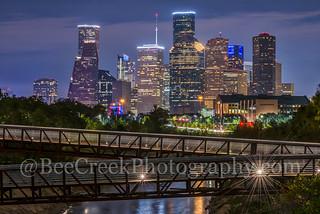 Houston Skyline Over Buffalo Bayou at Twilight