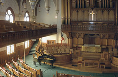 Washington DC - Calvary Baptist Church  - Historic Church  - View from the Balcony (Onasill ~ Bill Badzo) Tags: washington dc calvary baptist church nrhp register historic balcony organ pipes american fellowship southerncross flag usa onasill style gothic architecture altar landmark room ceiling wood choir pulpit piano attraction tourist cross