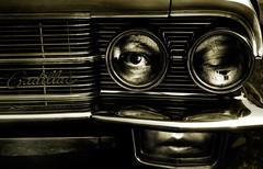Bodyguard... (Sabine-Barras) Tags: conceptual self selfportrait autoportrait cars voitures people personnes sépia sepia monochrome dark