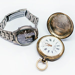 Old Pocket Watch And Titan watch isolated on the white background thumbnail