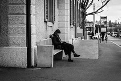 alone (desmokurt1) Tags: zurich zürich zurigo schweiz switzerland svizzera bw sw fuji fujixt1 downtown village tiefenbrunnen sbb trainstation bahnhof iphone handy