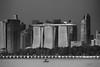 Marina Skyline Closeup (My Pixel Magic) Tags: monochrome blackandwhite blackandwhitephotography cityscape architecture marinabay marinabaysands marina nikon1v3 nikon1nikkor70300