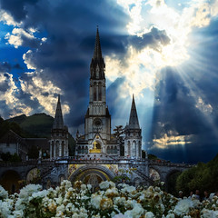 Miracles do happen... (Frank ) Tags: lourdes france dramatised air sky sun sunray dark clouds church catholic religion square frnk sonya7r travel europe people miracle crepuscular epic flowers dodge burn pscc topf25 topf50 topf100 topf150