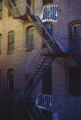 Graff Stairs (R. WB) Tags: stairs graffiti throwup throw up urban brick wall new york city town usa america