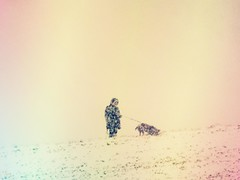Man with one dog and two cold feet (peterpe1) Tags: dog winter man flickr peterpe1