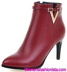 Summerwhisper Women's Sexy Pointed Toe Strap Side Zipper Ankle Booties Stiletto High Heel Short Boots Shoes Red 9 B(M) US (womensfashionista) Tags: 9 ankle bm booties boots heel high pointed red sexy shoes short side stiletto strap summerwhisper toe womens zipper