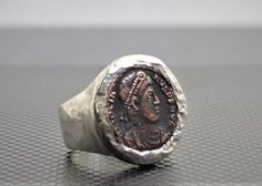 Rustic Silver Roman (alaridesign) Tags: rustic silver roman coin ring custom made greek gift for man heavy statement large hammered by alaridesign