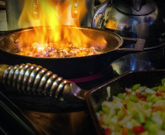 Thanksgiving Cooking - Mushrooms Flambé (hwicker) Tags: