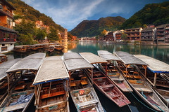 Moored at the Phoenix (petestew) Tags: fenghuang phoenix ancient unesco town hunan china tourism water boats river sunset afternoon 鳳凰縣 cultural