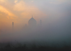Lost in Fog (lifeinabagpack) Tags: taj mahal landscape golden hour fog architecture nature photography art india canon travel camera dslr