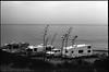 Campers By The Sea (greenschist) Tags: california usa rv ferraniap30alpha asahipentaxspotmaticii blackwhite supertakumar55mmf18 film ventura analog pacificocean