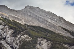 Looking Across and Upward to the Rugged Peaks of Mount Rundle (Banff National Park) (thor_mark ) Tags: nikond800e lookingse day2 triptoalbertaandbritishcolumbia banffnationalpark capturenx2edited colorefexpro outside nature landscape blueskieswithclouds rockymountains canadianrockies mountains mountainsindistance mountainsoffindistance mountainside trees hillsideoftrees evergreens mountrundle southerncontinentalranges southbanffranges rundlepeaks project365 alberta canada
