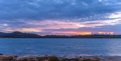 Panorama Dawn Waterscape Over The Bay (Merrillie) Tags: daybreak woywoy panoramic color landscape overcasst cloudy water coast dawn beauty panorama weather newsouthwales clouds bay nsw brisbanewater light scenery beautiful scene nature scenic coastal sky waterscape view centralcoast sunrise australia
