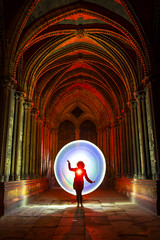 Chayla strikes a pose (at 3am) (Waving lights in the dark) Tags: chayla strikes pose 24hr studio studioshoot night nightphotography cathedral lincoln lincolnshire bbc donate backlit backlight circle disc silhouette vaulted ceiling church red sonya7 sonyzeiss skills