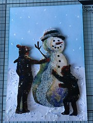 Second postcard made for a swap. (CraftyBev) Tags: snow glitter stickles acrylicpaint winter snowman