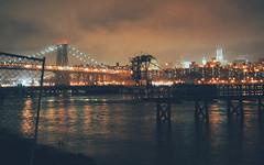 Foggy City (rjdibella) Tags: brooklyn night usa worldtradecenter eastriver bridges newyorkcity manhattan newyork 2012 williamsburg skyline williamsburgbridge spring nyc wtc unitedstates us