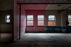 when.reason.is.a.room (jonathancastellino) Tags: abandoned derelict decay ruin ruins hamilton cannon mills beasley room pattern pink blue leica q missing wall window