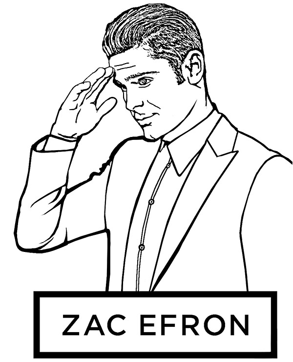 Zac Efron Free Coloring Pages