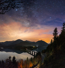 Sylvenstein mit Milchstraße (explored) (louhma) Tags: milkyway longexposure night nikon d750 nikond750 sky stars bridge lake reflection outside landscape long exposure sylvenstein germany bavaria