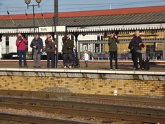 Trainspotters (O'neill 93) Tags: people trainstations waiting patient platform yorkshire york yorkcity trainspotters
