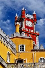 palais baroque de la Pena (jean-marc losey) Tags: portugal sintra palais delapena baroque jaune bleu rouge d700