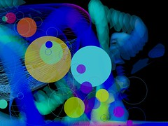 new beginning (heroyama) Tags: abstract art digital circle colorful color black colors happy party lines blue generative visual visualart
