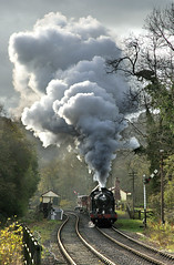 4277 storms through Consall. (johncheckley) Tags: d90 uksteam loco steam railway goodstrain