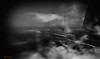 The Night they Drove the Lovers in a Ocean of Sadness (Gianmario Masala [inworld]) Tags: photoshop blur blurry mono monochrome landscape sea ocean artic waves misty fog lighthouse gianmariomasala blackandwhite grain highandlowkey shadows tower sky khodovarikha motion night basta