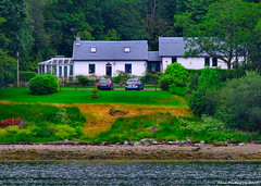 Scotland West Highlands Argyll a large cottage near Port Driseach 21 June 2017 by Anne MacKay (Anne MacKay images of interest & wonder) Tags: scotland west highlands argyll cottage trees coast sea port driseach xs1 21 june 2017 picture by anne mackay