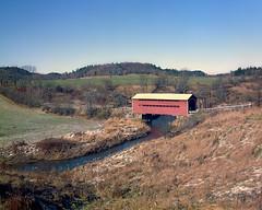 Meech Creek Covered Bridge (Howard Sandler (film photos)) Tags: meechcreek gatineaupark quebec coveredbridge landscape largeformat 4x5 film ektachrome schneider xenar graflex crown