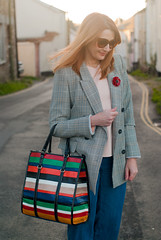 The Prince of Wales check blazer trend, AW17: A Glen plaid blazer jacket styled with wide leg jeans, black ankle boots and a stripe Mango shopper bag | Not Dressed As Lamb, fashion for over 40 women (Not Dressed As Lamb) Tags: aw17 smart casual look outfit ootd prince wales check plaid glenn fashion style