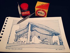 Ronchamp Chapel by Le Corbusier (schunky_monkey) Tags: penandink ink pen fountainpen illustrator illustration art sketchbook drawing draw sketching sketch icon design building church architecture architect lecorbusier france ronchamp notredameduhaut ronchampchapel