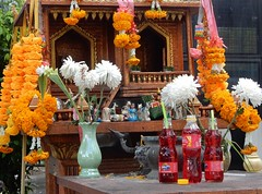 Buddha's Apparently Quite Fond of Cordial (mikecogh) Tags: chiangmai buddhism religion culture belief altar cordial flowers drinks offerings