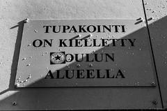Tupakointi kielletty (Aki A.) Tags: kontula helsinki architecture black white zcg zenit helios44 bw film finland surrealism ilford text sign writing wall