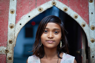 Indian girl at door step, Mathura, India 2