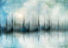 dreaming inside my soul . . . (YvonneRaulston) Tags: surreal europe italy italian venice boats gondola blue water sea atmospheric art abstract boat creativeartphotography calm clouds dream dusk emotive texture peaceful fineartgrunge soft glow icm light mist sun sunset sky moody moments sony photoshopartistry watercolour