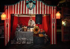 Holy Cow, What a Groove! (Peter Kurdulija) Tags: geo:lat=4129239356 geo:lon=17477915424 geotagged newzealand nzl tearo wellington new zealand city capital urban night musician dj tent cubadupa festival event annual odd colourful man artist gramophone cow kurdulija