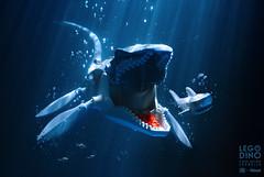 MOSASAURUS LEGO DINO (Shobrick) Tags: legodino lego dino dinosaurs mosasaurus fishtank water shark jurassic toys photography macro flash shobrick geek toy world