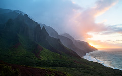 Kalalau Valley Sunset (Raiatea Arcuri) Tags: kalalau valley napali coast kauai sunset ridge backpacking trail hawaii